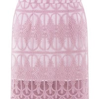 Pink Sheer Crochet Lace Skirt