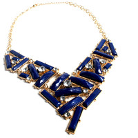 """""""Deep Blue Sea"""" Gold Statement Necklace With Blue Stone And Diamond Accents"""