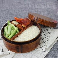 Japanese Lunch Box Natural Wooden Box Round Three Grid Wood Bento Box Student Package Box Sushi Case