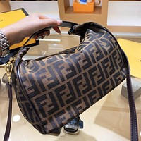 FENDI Women Retro Shopping Bag Canvas Handbag Tote Shoulder Bag Crossbody Satchel