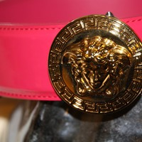 "New Unisex Versace pink Leather Belt With Gold Buckle, 43"" Medusa Head Buckle"