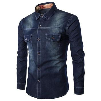 Denim Single Breated Shirt ~ 6XL Big Man Sizes Available