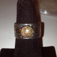 Unakite Sterling Ring Sz 7.5 Silver 925 Green Coral Stone Vintage Southwestern Jewelry Cocktail Christmas Holiday Birthday Gift
