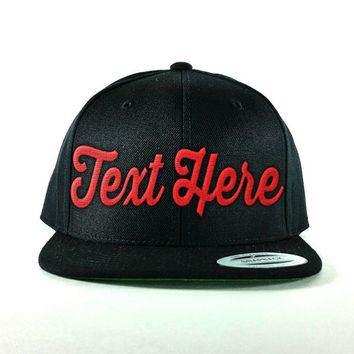 Custom Black Snapback Hat - Custom Text Embroidered - Personalized caps - High quality embroidery