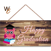 "Happy Graduation Sign with Pink Owl, Graduation Gift, 5"" x 10"" Sign, Grad Photo Prop, Grad Sign, Owl Sign, Made To Order"