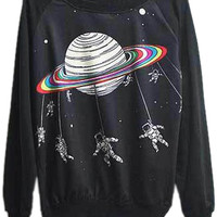 ROMWE | Saturn&Spacemen Print Black Sweatshirt, The Latest Street Fashion