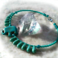 Turquoise Lucky Elephant Anklet, Chakra Anklet Ankle,Boho Chic,Royalty Anklet Ankle, African Elephant Anklet,Ready to Ship, Direct Checkout,