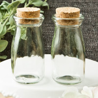 Perfectly Plain Collection DIY Vintage Glass Milk Bottle with Round Cork Top