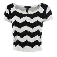 INC Womens Knit Chevron Crop Sweater
