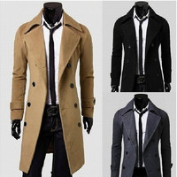 Notched Woolen Plain Long Sleeve Double Breasted Mens Coats [9221913092]