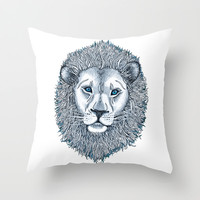 Blue Eyed Lion Throw Pillow by micklyn | Society6