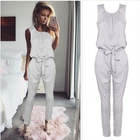 White Jumpsuit with Waist Strings