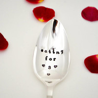 Eating for three spoon, pregnancy spoon-silver plated-pregnancy gift