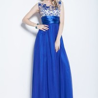 Beautifly Blue Embroidered Sleeveless Long Chiffon Evening Ball Gown Party Dress