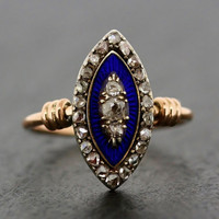 Antique Diamond Ring - Victorian Diamond & Enamel Navette Rose Gold Ring