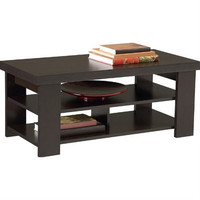Modern Coffee Table in Dark Brown Black Forest Finish