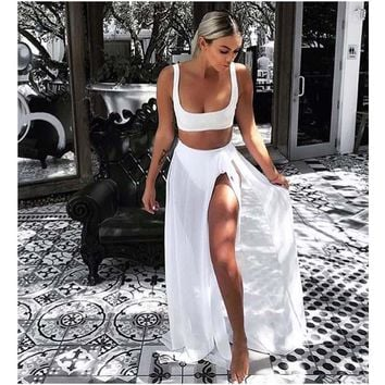 Crop Top Shorts with Split Long Skirt Cover Up Three Pieces Beach Outfits
