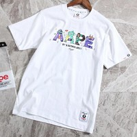 AAPE BAPE Fashionable Casual Classic Graffiti Print T-Shirt Top White