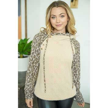 On The Wild Side Taupe Brown Leopard Print Hoodie