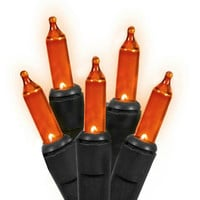 Orange Halloween Lights - 60 Concave Wide Angle Bulbs