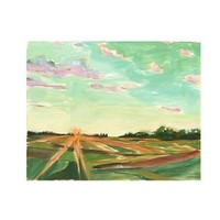 Landscape Painting, Acrylic Print, Landscape, Cloud Painting, Sunrise, Farm Landscape, Farm Painting, Farm Scene, Painting of Field, Trees