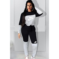 NIKE Autumn And Winter Fashion New Letter Hook Print Contrast  Color Long Sleeve Sweater And Pants Two Piece Suit Gray