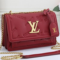 Louis Vuitton LV Leather Satchel Crossbody Handbag Shoulder Bag
