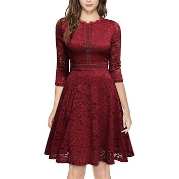 Retro Inspired Bell Sleeve Lace Cocktail Dress, US Sizes 0 - 20  (Red Dress)