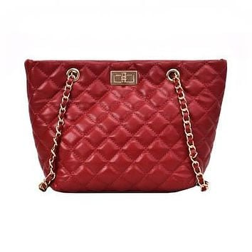 Quilted Faux Leather Tote Bag