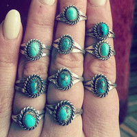 Little vintage Navajo natural turquoise & sterling silver ring. Native American 70s dead stock  handmade gypsy boho simple classic southwest