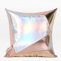 "Pink and Silver Three Color Faux Leather Pillow 16""X16"""