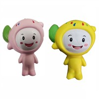 Environmental protection safety Slow rebound Squishy new simulation bread, fruit, animal PU model lemon doll with Hanging buckle