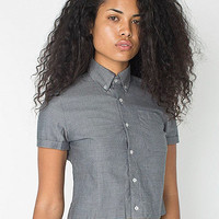 Pinpoint Oxford Cropped Short Sleeve Button Down Shirt | American Apparel