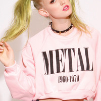 METAL CROP SWEAT SHIRT - UNITED COUTURE