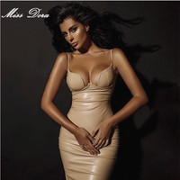 V-neck pu leather dress BUSTIER PENCIL nude pink red black celebrity sexy bodycon party dresses kim kardashian