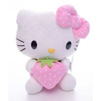 Cute Hot Pink Floral  Hello Kitty Cartoon Cat Plush Hello Kitty Hold Strawberry Collection Plush Wedding Toys Dolls 7''
