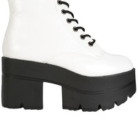 Monster Lace Up Platform Boots - White