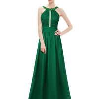Green Rhinestone Formal Homecoming Dress