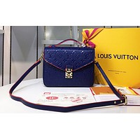 LV fashionable lady embossed single shoulder bag  hot seller of square shopping bag High quality Blue