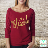 Blessed Shirt - Thanksgiving Shirt - Blessed Thankful Grateful - Grateful 3/4 Sleeve Shirt - Cute Thanksgiving Shirt for Adults