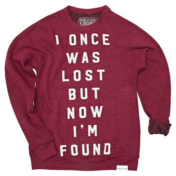 I Once Was Lost Cranberry Crewneck Sweatshirt