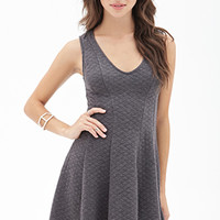 FOREVER 21 Quilted Fit & Flare Dress Heather Grey