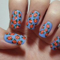 Blue floral press on nails - Red rose acrylic nail art - hand painted fake fingernail art with a matte finish and glue included