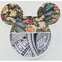 Mickey Mouse Ears Tribal Floral Sticker