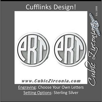 Men's Cufflinks- Customizable Monogram, Circle Style with Bubble Letters