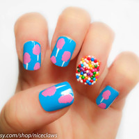 Cotton Candy and Sprinkles Fake Nails Katy Perry Inspired