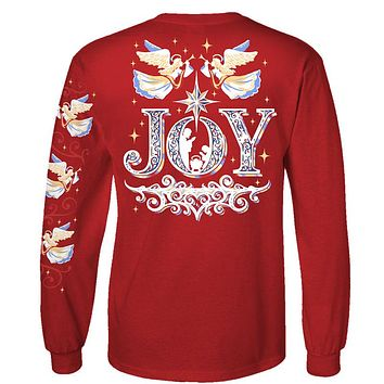 Southern Attitude Preppy Joy Holiday Long Sleeve Red T-Shirt