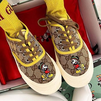 Hipgirls GUCCI New Hot Sale Women's Letter Cartoon Embroidered Canvas Sneakers
