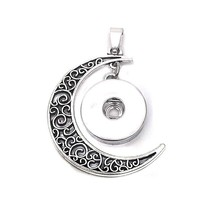 Hot Sale 139 I Love You To The Moon And Back  Necklace Charm jewelry Interchangeable 18mm snap button Pendant for women Gift