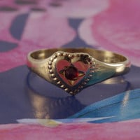 Victorian Ruby Heart Child Ring Ostby Barton 10k gold Titanic